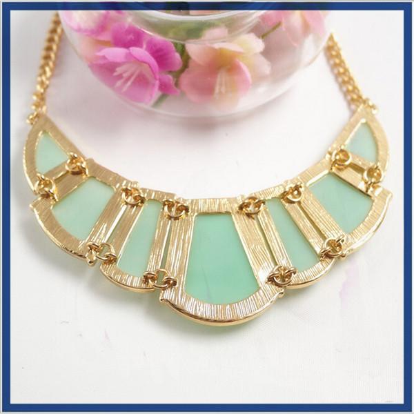 Tendencias de la joyería de mujer accesorios 2016 joyería declaración collares collar de piedra verde caliente