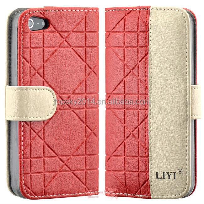 Dual Color Lattice Pattern Business Style PU Leather Cover For iPhone 5 5S 4 4S Case