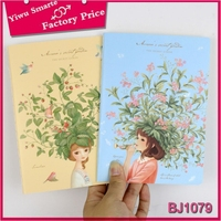 line inner pages different colors cover flower pattern china girl notebook