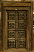 Antique carved wooden Door with metal fittings & frame