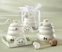'Meant to Bee' Honey Pot with Wooden Dipper For Wedding Favors
