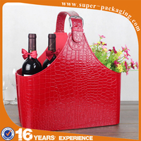 Personalized custom packaging large capacity stable PU leather cover wooden cardboard glass wine carrier bag for festival gift