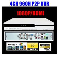 p2p 4CH Channel Sony 700TVL DVR HDMI 1080P D1 960H Security System Video CCTV Video Audio Recording 3G WIFI Cloud server