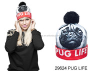 2015 latest top selling pug cartoon characters beanie hat printed 3d beanie