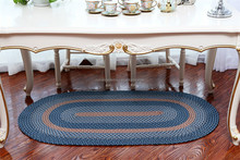 striped coiled plastic braided rug, dining table mat, dining table floor mats