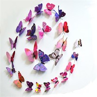 ZooYoo 3d butterfly wall home decoration removable 3d butterfly wall decal stickers home decor