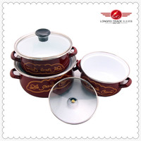 3pcs kitchen ware with glass cover high quality