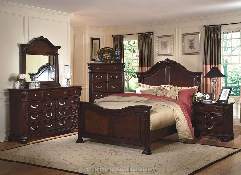 2015 Modern Bedroom Furniture New Designs Hot Sale Solid Oak Wood Bedroom Bed Latest Double Bed