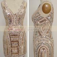 Nude color above knee length v-neck beaded satin fabric sexy club dress