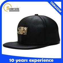customize black metal plate snapback blank hat leather