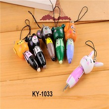 2015 hot sale cartoon animal multi-function portable ball pen key chain office supplies wood cute Cell Accessories