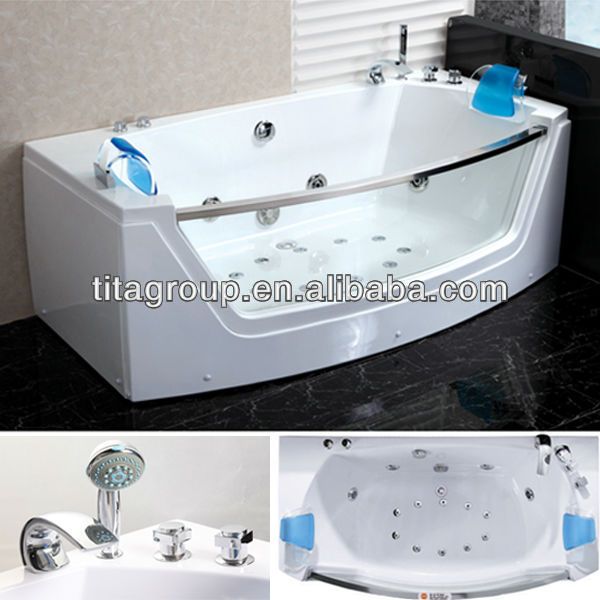 Stainless steel jets glass front whirlpool bathtub