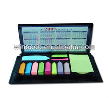 different kinds of sticky note in leather case