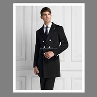 2015 cheap men's designer winter black wool coat