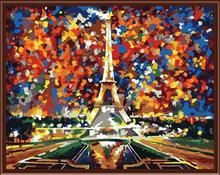 wooden frame abstract canvas oil painting by numbers with paris design GX6386