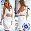 2 piece set women dress tropical white short backless bodycon dress crop top and skirt set women clothing