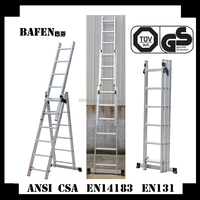 Foldable 3 sections combination aluminum extension ladder 4.26m