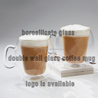 clear heat resistant and insulation borosilicate double wall coffee and tea glass cup with handle