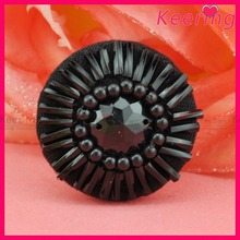 wholesale fashion keering new arrival all black beads sew on fabric shirt button WBK-1415