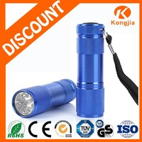 AAA Battery Colorful 9 LED Flashlight Pocket Aluminum Ultra Bright Mini Led Flashlight