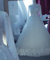Real sample lace long sleeve vintage arabic islamic wedding dress #OW593