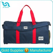 Stylish Navy Blue Polyester Weekend Bag Travel Bags Mens Weekend Bag With Shoes Compartment Wholesale