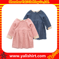 Wholesale custom dotted long sleeve girls kids cotton frocks design