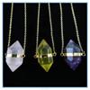Natural Hexagonal Pile Gemstone Crystal Simple Design Pendant Necklace, Unisex, Power Healing Chakra