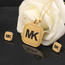 2015 Summer hot gold color stainless steel letter MK jewelry set