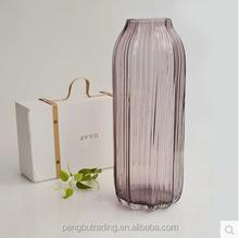 Purple striped glass vase
