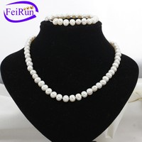8-9mm natural cultured freshwater pearls necklace set designs