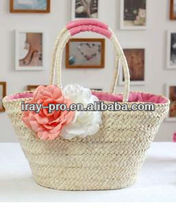 2013 new fashion attractive straw flower beach bag
