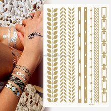 Available temporary tattoo transfer paper back body tattoo badoy art gold and silver metallic tattoo sticker balck lace tattoo