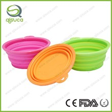 Portable Foldable Collapsible Pet Cat Dog Silicone Collapsible Pet Food Water Feeding Bowl Black