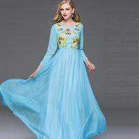 KAT-DS 2016 New Aristocratic Heavy Handmade Flower Beading Long Sleeve Ankle Length Blue Beige Swing Fairy Dress