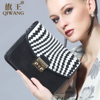 free shipping fashion knit genuine leather satchel bag manufacturer in guangzhou