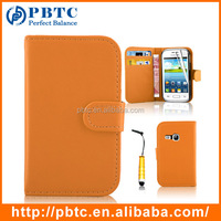 Set Screen Protector Stylus And Case For Samsung Galaxy Young S6310 , Orange Leather Wallet High Quality Phone Case