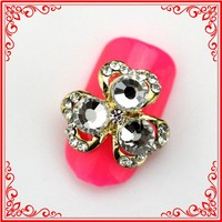 RH1325 Alloy Nail Charms Jewelry Golden Metal Open Blossom Rhinestones Fingers Ornament Nails Arts
