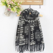 Wholesale 2015 big checks printed cashmere winter men scarf with Tassels