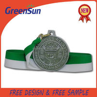 2015 unique style nice design silver medals with ribbon drape