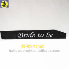 Fashion Black Satin Wedding Sashes for Bride