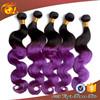Unprocessed best selling human hair Dark Purple Black and Purple Ombre Hair