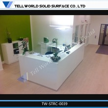 Hot Selling L Shape Perfect Glossy Surface Office Reception Counter