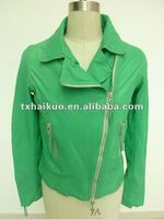 Ladies' turn down collar green motorcycle leather jacket with long zipper