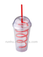 16oz durable kids double insulated plastic cups with lid and straw