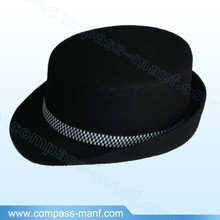 Black Unisex Simple Design Checked Band Fedora Hats
