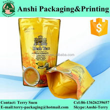 Biodegradable food package ziplock top resealable stand up custom print plastic pouch/bag for food
