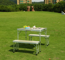 Camping aluminum folding table with two long benchs