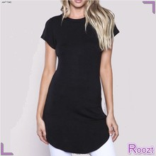 Popular Women Black Curved Hem Long T Shirt Wholesale