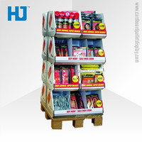 Supermarket promotional convenience paper store furniture for housing items, folding cardboard material corrugated display stand